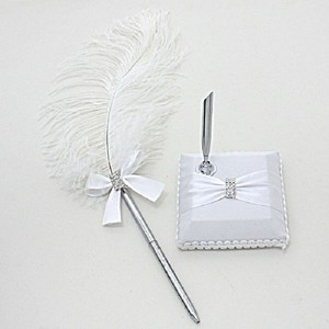 White Clear Crystal Silver Feather and Bow Rhineston Accent Guess Book Signing Tone Pen With Other