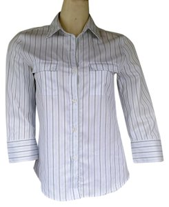 Zanella Striped Cotton 3/4 Sleeves Shirt Button Down Shirt White