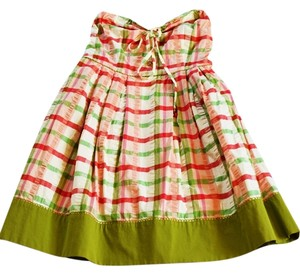 Juicy Couture short dress Pink and green Plaid Strawberry Smocking Strapless Fit Flare on Tradesy