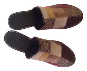 Coach multi color patch work Mules
