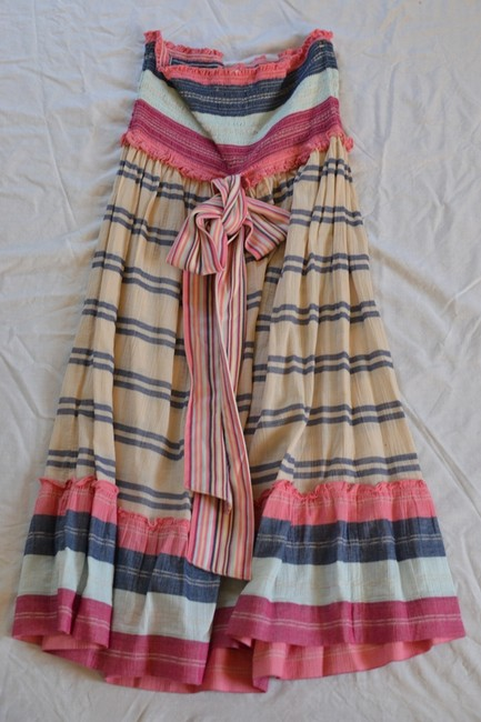 Pink, blue and white Maxi Dress by Juicy Couture Smocking Multicolor Stripes Strapless Day Midi