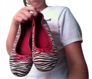 Predictions Zebra Bow Cute Teenager white, pink, black Flats