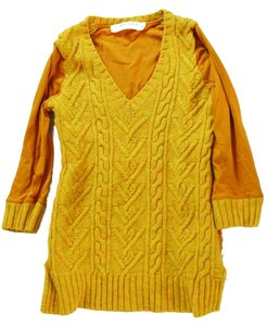 Anthropologie Mustard Cable Knit Sweater