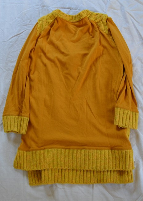 Anthropologie Mustard Cable Knit 3/4 Sleeve Three-quarter Sleeve V-neck Sweater