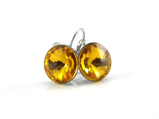 Other November birthday stone Yellow Crystal Rivoli Lever back Earring Image 1