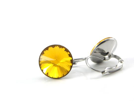 Other November birthday stone Yellow Crystal Rivoli Lever back Earring Image 2