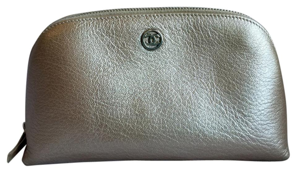 9892fa3e08d1 Chanel Chanel Champagne Leather Cosmetic Case / Makeup Bag Image 0 ...