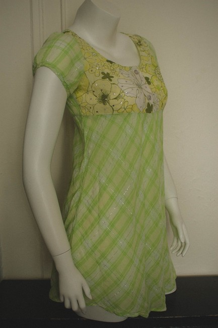 Other short dress light gree, yellow, white Vintage 1980s 80s 90s 1990s 70s 1970s Boho Crepe Empire Waist Bohemian Hippy Hipster Hippie Plaid Skater Floral Flowers on Tradesy