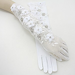 White and Clear Crytstal Vintage Garden Style Embroidery Leaf Accent Gloves