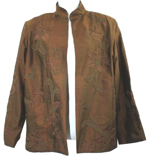 Preload https://img-static.tradesy.com/item/3273259/chico-s-design-open-front-embroidered-brown-silk-jacket-1-blazer-size-6-s-0-0-650-650.jpg