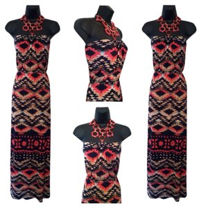 Coral, Navy Blue, & Khaki Maxi Dress by Trixxi