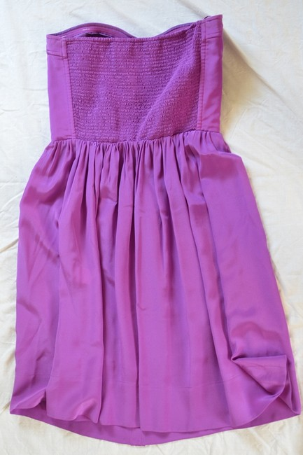 Rebecca Taylor Top Fit And Flare Silk Strapless Smocking Party Cocktail Dress
