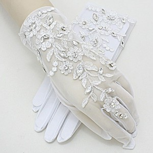 White and Clear Crystal Vintage Garden Style Embroidery Leaf Flower Accent Gloves