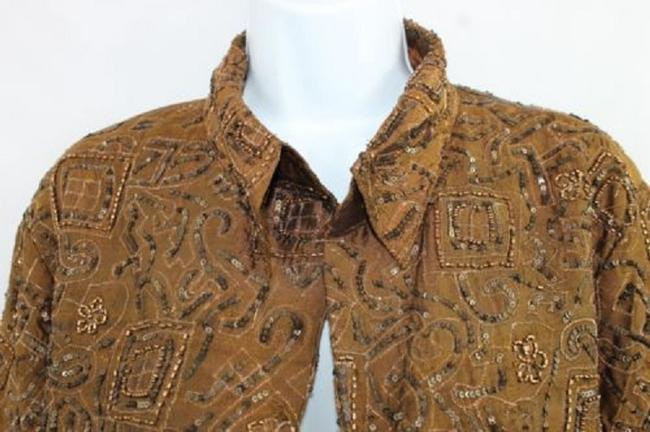 Chico's Embellished Brown Silk Top