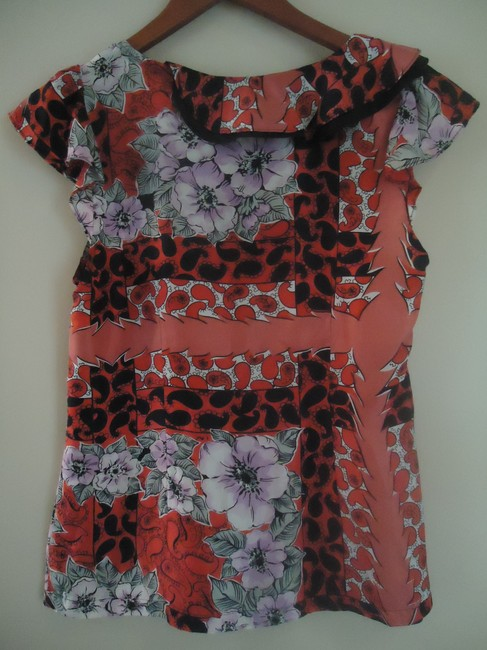 Anthropologie Silk Odille Floral Top red