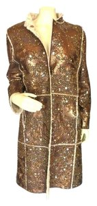 Oscar de la Renta Beaded Metallic Shearling Fur Fur Coat