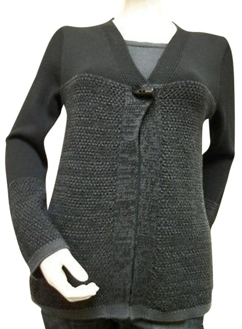 Other Parkhurst Faux Shell Texture Knit Gray Black 100 Cotton 77941 Sweater