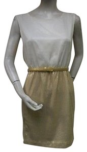 Ellison short dress Cream & Gold Sequined Skirt Scoop Neck Mini Cocktail Party on Tradesy