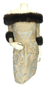 Bill Blass Vintage Damask Brocade Fur Dress