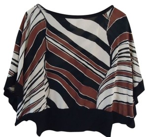 Trina Turk Abstract Stripe Brown Black Silk Top brown multi