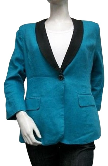 Preload https://item1.tradesy.com/images/mm-couture-mm-couture-shawl-collar-one-button-blazer-turquoise-black-100-linen-3274945-0-1.jpg?width=400&height=650
