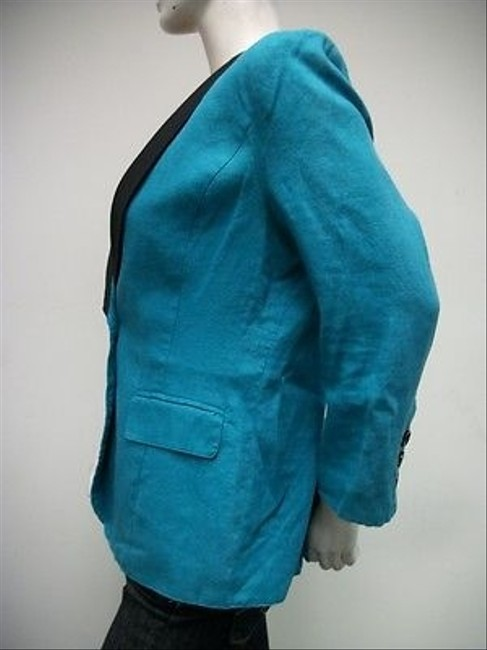 MM Couture Mm Couture Shawl Collar One Button Blazer Turquoise Black 100 Linen