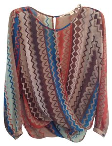 Chelsea & Violet Sheer Zigzag Crossover Top Brown, Blue, Tan, Orange