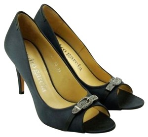 Pedro Garcia Julie Satin Jeweled Black Pumps