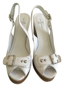 Linea Paolo Leather White Wedges