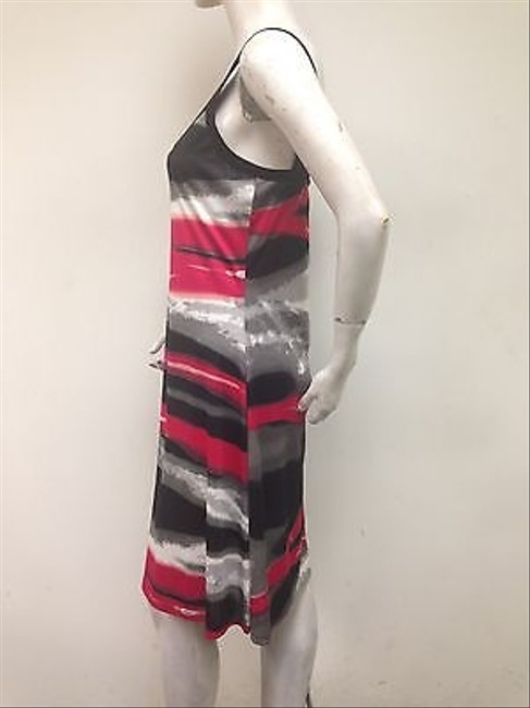 Other Vandanas Red Gray Black V Neck Sleeveless D5040 Dress