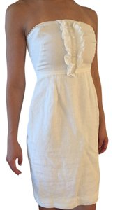 J.Crew short dress White Classic Linen Strapless on Tradesy