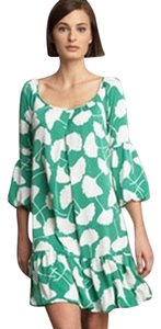 Diane von Furstenberg short dress green and white Gingko Print Print Ruffle Mini Tunic Short on Tradesy
