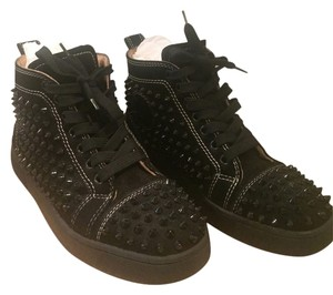 Christian Louboutin Sneaker Spike Classic Leather Velour Louis Black Athletic