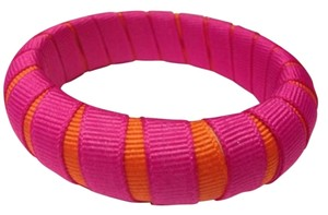 Gameday Bangles Pink Orange Peek-a-boo Grosgrain Ribbon Narrow Bracelet 34