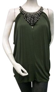 Single Beaded Necklace Halter Olive Style 086s543 Greens Halter Top