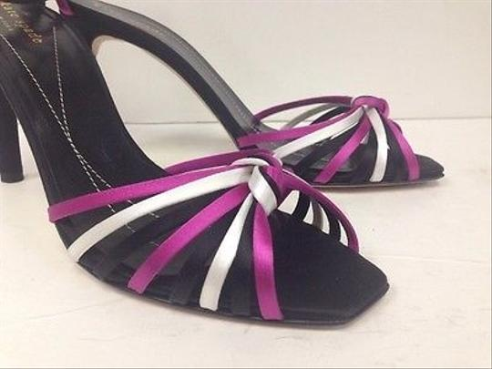 Kate Spade Black Satin Knotted Peep Toe Ankle Strap Heel 8m Multi-Color Pumps