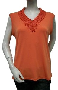 N Touch Row Ruffled Knit Top Orange