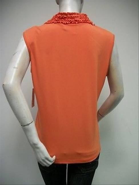 Other N Touch Row Ruffled Knit Shell Style 4ba8 Top Orange