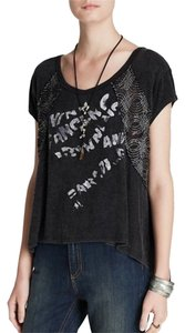 Free People Knit Pullover Beaded Gray High/low T Shirt Charcoal gray