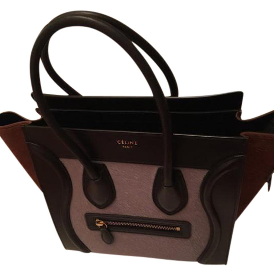 60811aabe7 Céline Luggage Micro Lilac Black Brown Pony Hair  Leather Tote - Tradesy
