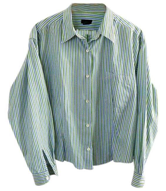 J.Crew Cotton Button Down Shirt blue-green