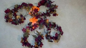 Fall Leaves (Red Green Hints Of Yellow and Orange Purple Grapes) 15 Garlands (6 Feet Each) Canopy/Chuppah