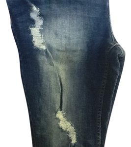 Simply Vera Vera Wang Distressed Comfortable Petite Capri/Cropped Denim-Dark Rinse