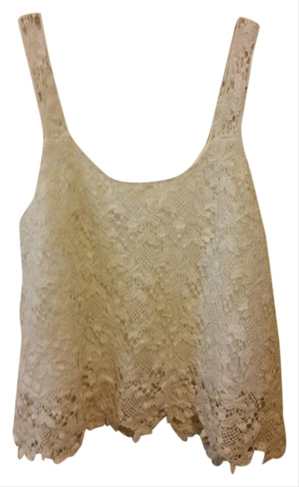 492e7730dce102 Forever 21 Ivory Floral Crochet Tank Top Cami Size 6 (S) - Tradesy