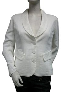 Isda & Co. Isda And Co White Woven Jacket Blazer 100 Cotton