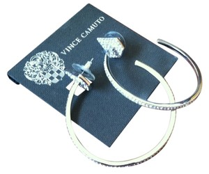 Vince Camuto Vince Camuto Silver Pave Hoop Earrings, 1 3/4 inches, New With Tags, $68.00