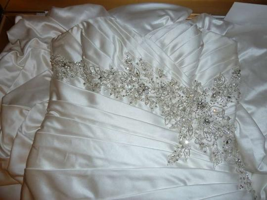 Mori Lee Ivory Satin 1802 Mermaid Wedding Dress Size 12 (L)