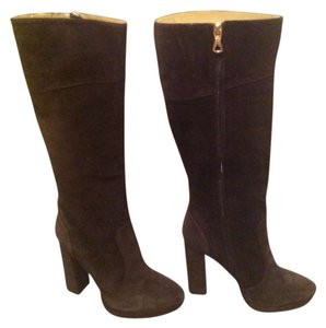 BCBG Max Azria Suede Tall Platform Size 40 Eur Leather Knee High BROWN Boots