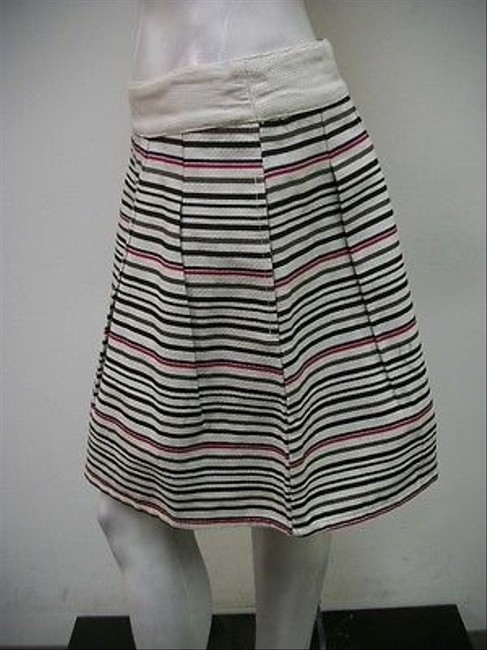 Tulle Stripe Mid Thigh Pleated Cotton C5291 Skirt Multi-Color