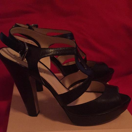 Prada Black W/ Silver Buckle On Side Platforms
